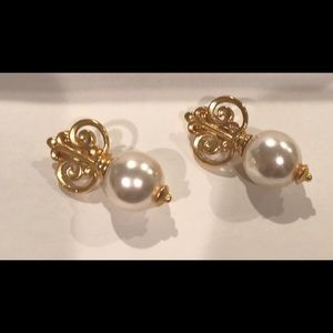 Vintage Ben-Amun Clip Earrings with Pearl Drop